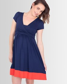 Lonzi&Bean UltiMum Maternity & Breastfeeding Dress Navy/Coral