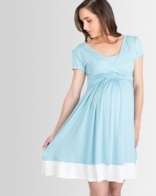 Lonzi&Bean UltiMum Maternity & Breastfeeding Dress Vanilla/DuckEgg