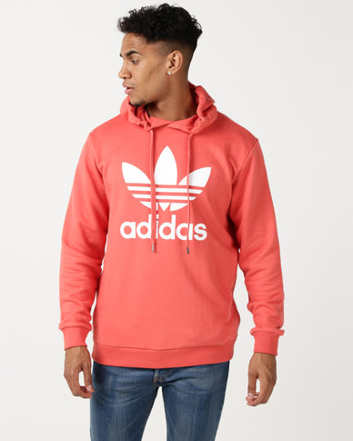 adidas Originals Mens Over The Head Hoodie Scarlet/White