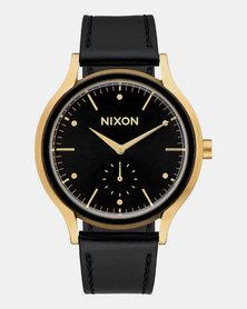 Nixon Sala Leather Watch Gold Black