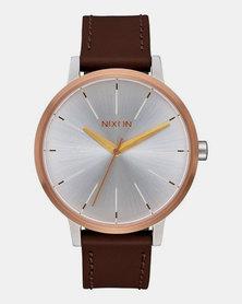 Nixon Kensington Leather Watch Silver/Rose Gold