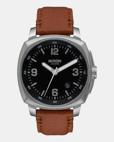 Nixon Charger Leather Watch Black Saddle