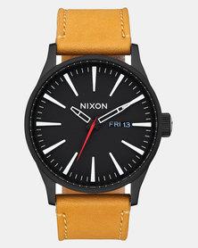 Nixon Sentry Leather Watch All Black Goldenrod