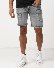 Silent Theory Ramble Shorts Smoked Grey Ripped