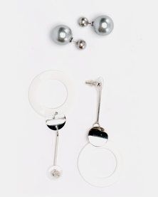 Lily & Rose Classic Earrings Set Silver & White