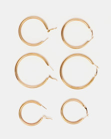 Lily & Rose Glam Hoop Earrings Set Gold-tone