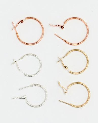 Lily & Rose 3 Pack Hoop Earrings Set Multi