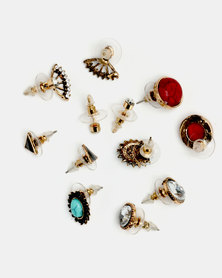 Lily & Rose 6 Pack Earrings Set Red/Clear/Blue/Black