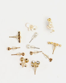 Lily & Rose 6 Pack Earrings Set Gold-tone