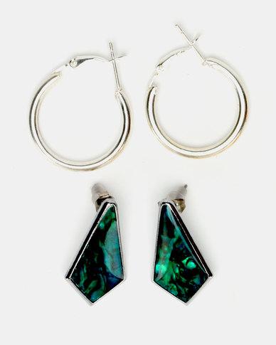 Lily & Rose Fancy Coffin Earrings Set Green & Silver-Toned