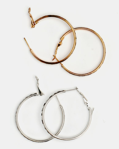 Lily & Rose Animal Print Hoops Set Gold-Toned & Silver With Black