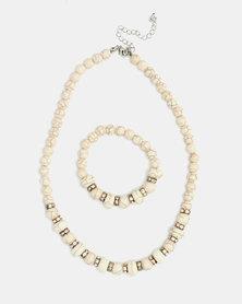 Lily & Rose Necklace & Bracelet Beaded Set Natural