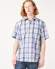 Jeep Short Sleeve Check Shirt Blue/White