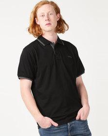 Jeep Short Sleeve Plain Golfer Black