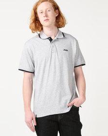 Jeep Short Sleeve Plain Golfer Grey Melange