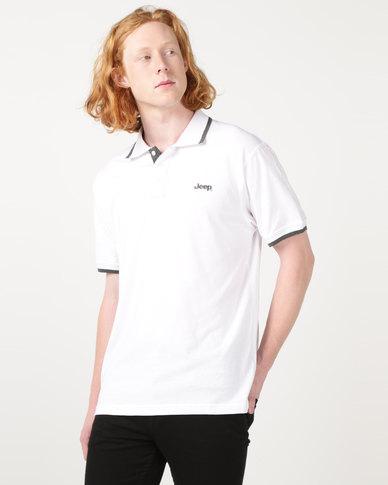 Jeep Short Sleeve Plain Golfer Shirt White