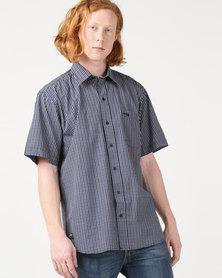 Jeep Short Sleeve Check Shirt Navy