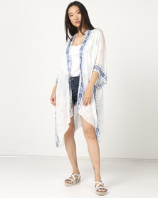 Joy Collectables Mid Kimono White with Blue Trim