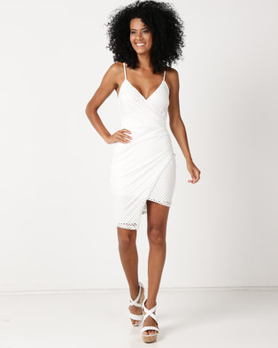 Sissy Boy Assymetrical Mesh Detail Bodycon Dress Off White
