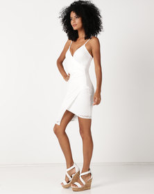 Sissy Boy Assymetrical Mesh Detail Bodycon Dress Off White