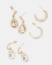 Queenspark 2 Drop Earrings with Hoop Gold-Toned