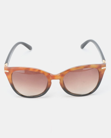 Queenspark 2 Tone Gold Detail Sunglasses Brown