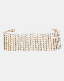Queenspark 9 Row Diamante Bracelets Gold-Toned