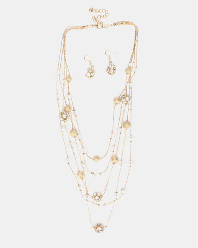 Queenspark 5 Row Floater with Earrings Set Gold-Toned