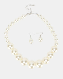 Queenspark Large Pearl Necklace With Earrings Set Cream