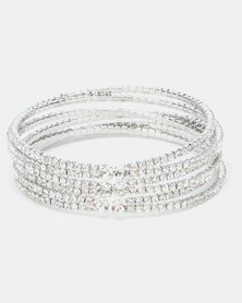 Queenspark Soft Diamante Cuff Silver-Toned