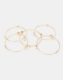 Queenspark 6 Pack Pearl Bangles Gold-Toned