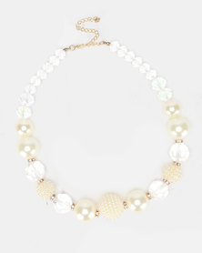 Queenspark Pearl, Clear And Pearl Clister Necklace Cream
