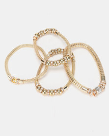 Queenspark 4PK Stretchie Mesh Bracelets Gold-Toned