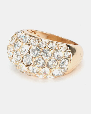 Queenspark Diamante Scattered Ring Gold-Toned
