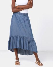 Miss Cassidy Tencel Frill Detail Hi-lo Woven Skirt Indigo