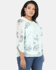 Queenspark Plus Woven With Soft Sleeves Blouse Mint
