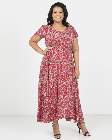 Queenspark Plus Pep It Up Printed Woven Dress Red