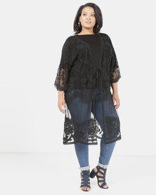 Queenspark Plus Embroidered Mesh Longer Length Knit Jacket Black