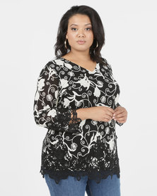 Queenspark Plus Fancy Printed Mesh Knit Top Black