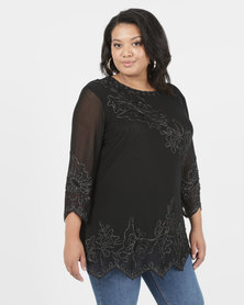 Queenspark Plus New Diagonal Cornelli Knit Top Black