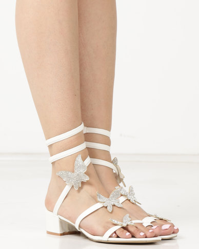 Queenspark Butterfly Shimmer On Low Heels White