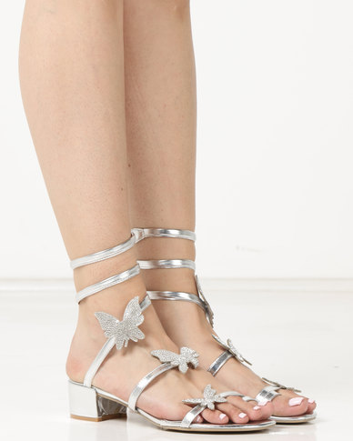 Queenspark Butterfly Shimmer On Low Heels Silver
