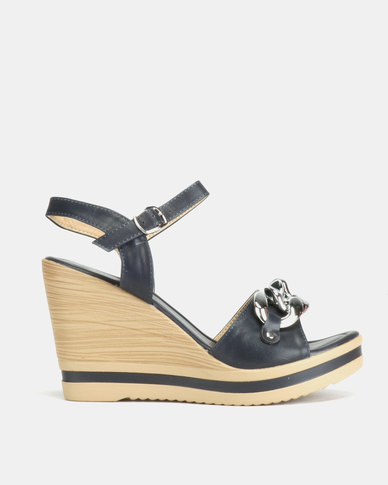Queenspark High Heel Wedges With Chunky Chain Detail Navy