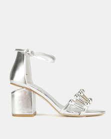 Queenspark Glamour Stud Block Heel Sandals Silver