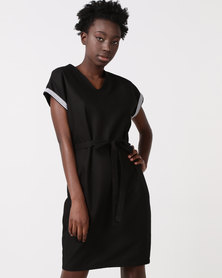 Ellen & Ivy Linen Tie Waist Dress Black