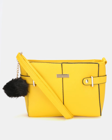 Legit Tab Buckle Side Crossbody Bag Yellow