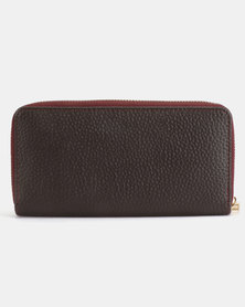Legit Colour Block Gold-Toned Trim Zip Purse Burgundy