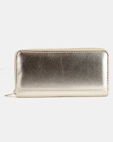 Legit Metallic Zip Purse Gold-Toned