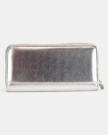 Legit Metallic Zip Purse Silver-Toned