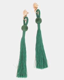 Legit Gold-Toned Stud Thread Tassel Earrings Green